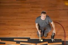 Installation d'étage de bois dur photo stock
