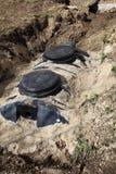 Installation de la fosse septique photo libre de droits