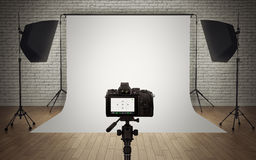 Installation de lumière de studio de photo Photo stock