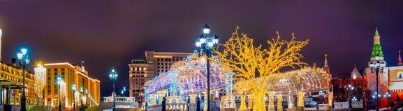 Installation de Noël à la place de Manege, Russie photo libre de droits