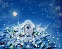 Installation de Noël avec des lumières de nuit dessus Images stock