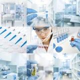 Installation de recherches ou laboratoire, ensemble de neuf photos dans le bleu images stock