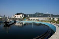 Installation de traitement d'eaux résiduaires Photo libre de droits