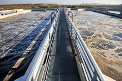 Installation de traitement d'eaux résiduaires Image libre de droits