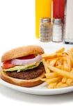 Installation de wagon-restaurant d'hamburger et de pommes frites photo stock