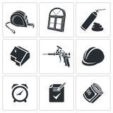 Installation des icônes de fenêtres réglées Photographie stock