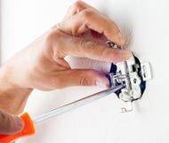 Installation des prises électriques Image stock