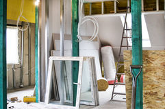 Installation of drywall constructions and their insulation. From moisture and cold Stock Image