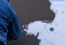 Installation du therm de façade d'isolation externe Photographie stock
