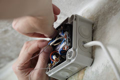 Installation of electrical box Royalty Free Stock Photography