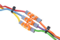 Installation electrical cables with terminal block Royalty Free Stock Photography