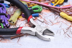 Installation of electrical, tools and cables Stock Images