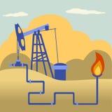 Installation et feu de transformation de pétrole et de gaz Illustration Libre de Droits