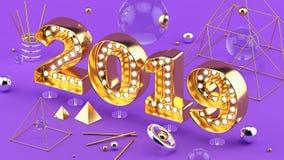 2019 installation för closeup 3D för lyckligt nytt år isometriska med 2019 nummer på ultraviolett bakgrund arkivbild
