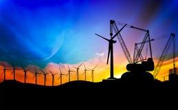 Installation för vindturbin Royaltyfria Foton