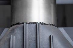 Installation of fireplace chimney Stock Photo