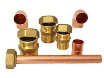 Installation fittings made of brass Royalty Free Stock Photography