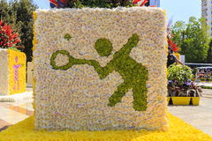 Installation of  a flower festival in Baku Stock Photos
