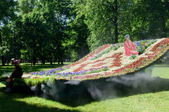 Installation Flying Carpet in Mikhailovsky Garden, St. Petersburg Stock Photo