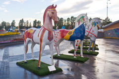 Installation in the form of figures of horses, painted in ornament ethnos , living in Kazakhstan Stock Photo