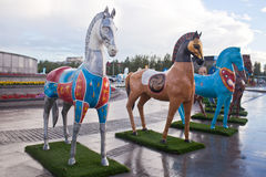 Installation in the form of figures of horses, painted in ornament ethnos , living in Kazakhstan Stock Photos