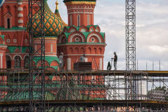 Installation of frame construction of the stage in the center of Royalty Free Stock Photography