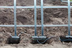 Installation of frame greenhouse outdoors Royalty Free Stock Photos