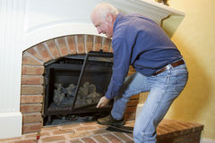 Installation of Gas Fireplace Royalty Free Stock Photos