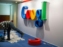 Installation of google logo. ST. PETERSBURG. RUSSIA - FEBRUARY 08 2015. Installation of google logo for IT conference royalty free stock photos