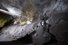 Installation of hard work of miner. Installation in wieliczka salt mine. Poland Stock Photography
