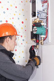 Installation of heating boiler royalty free stock image