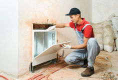Installation of home heating. Royalty Free Stock Photo