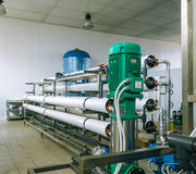 Installation of industrial membrane devices. Water treatment based on reverse osmosis system Royalty Free Stock Image