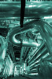 Installation of industrial pipelines in blue tones Stock Photography