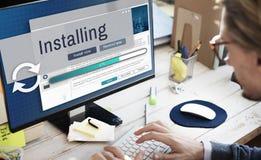 Installation installerar manuellt begrepp för avskildhetsserviceaktivering arkivfoton