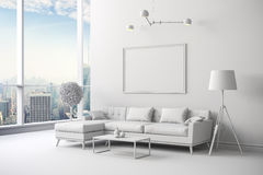 installation intérieure blanche de la pièce 3d Images libres de droits