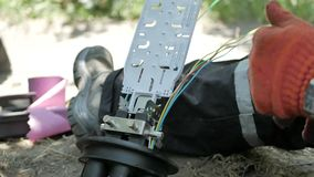Installation of an Internet cable stock footage