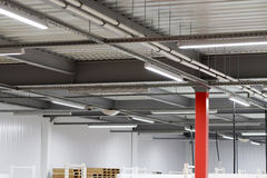 Installation of lighting fixtures suspended ceiling Stock Images