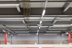 Installation of lighting fixtures suspended ceiling Royalty Free Stock Photo