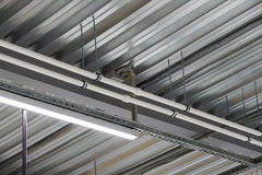 Installation of lighting fixtures suspended ceiling Stock Image