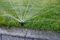 Installation modern garden irrigation system watering lawn. royalty free stock image