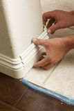 Installation of New Baseboard & Bull Nose Cornerns Stock Photos