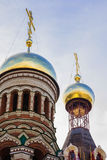 Installation of a new domes of the Christian Orthodox church in Yoshkar-Ola Royalty Free Stock Image