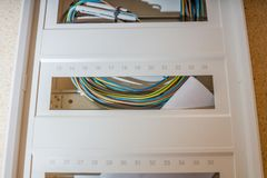 Installation of a new fuse box. New fuse box not yet wired royalty free stock photos
