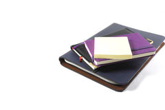 Installation notebooks on white background. Back to school, back to work Stock Photos