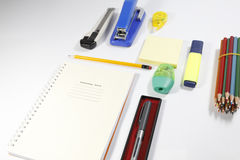 Installation office tools on white background. Back to school, back to work Royalty Free Stock Photo