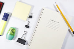 Installation office tools on white background. Back to school, back to work Royalty Free Stock Photography