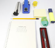 Installation office tools on white background. Back to school, back to work Royalty Free Stock Image