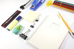 Installation office tools on white background. Back to school, back to work Stock Photo