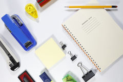 Installation office tools on white background. Back to school, back to work Stock Photography